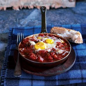 Paprika and Chorizo baked eggs / Image via: Delicious Magazine #spain #recipe