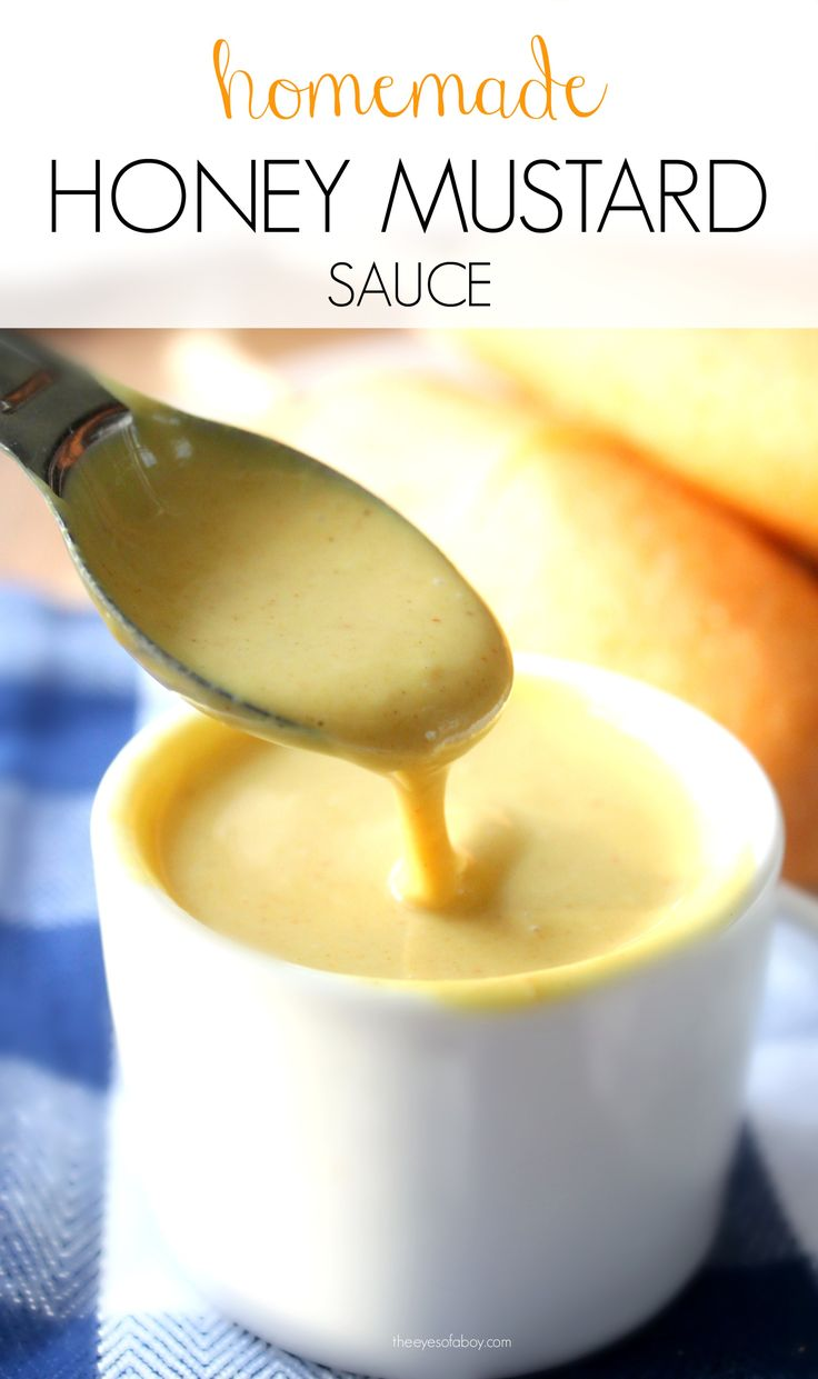 The BEST homemade honey mustard sauce perfect for dipping hot dogs, corn dogs, on salad, or as a glaze - from theeyesofaboy.com
