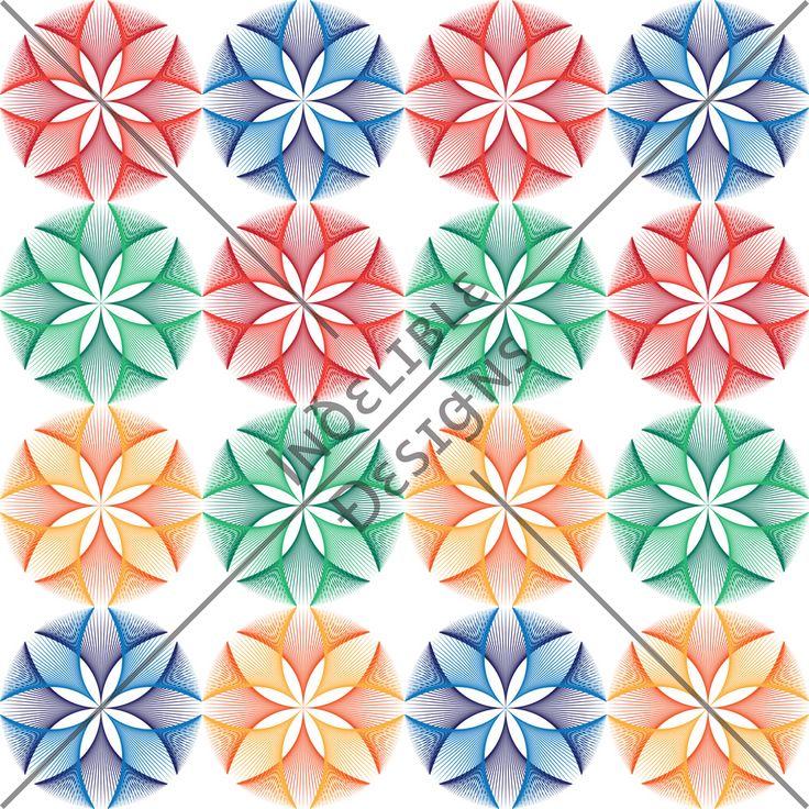ID#29CE — Iɴðɛʟɪʙʟɛ Ðɛsɪǥɴs #screenprint #printdesign #textiledesign #textileprint #blue #green #yellow #orange #red #linear #fan #floral #multicoloured #layer #white #perspective #line