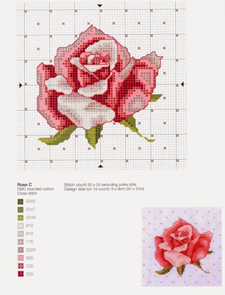 Punto croce - Schemi Gratis e Tutorial: Raccolta schemi di rose e boccioli a punto croce