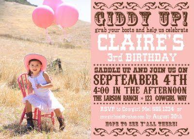 cowgirl party invite