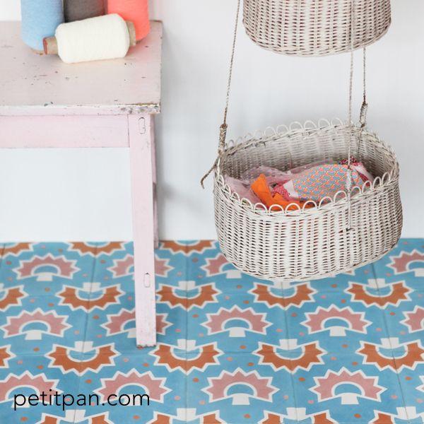 "Carreau Petit Pan ""Kakinoki"" bleu"