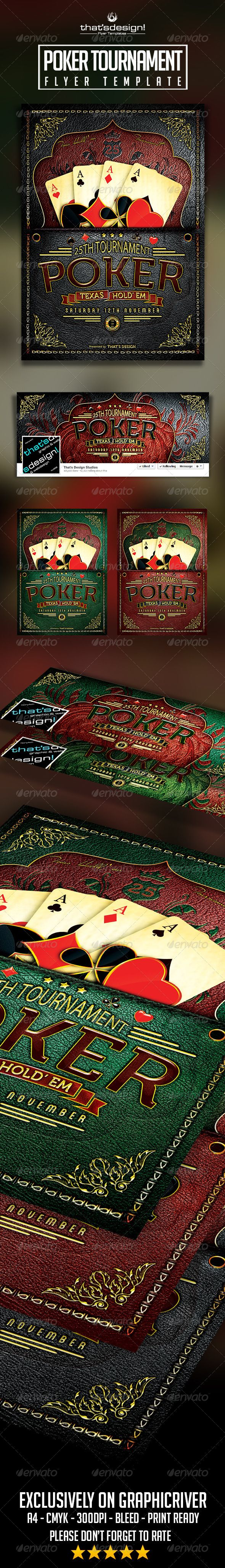Poker Tournament Flyer Template includes ×Facebook cover.