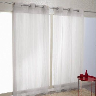 7,00 Voilage à oeillets blanc design rayures - Rideau - Textile déco - Linge de maison | GiFi