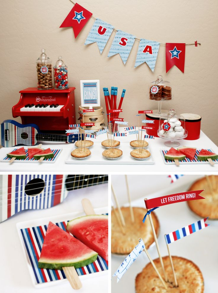 Free Printables. Let Freedom Ring Fourth of July Party Food Table.