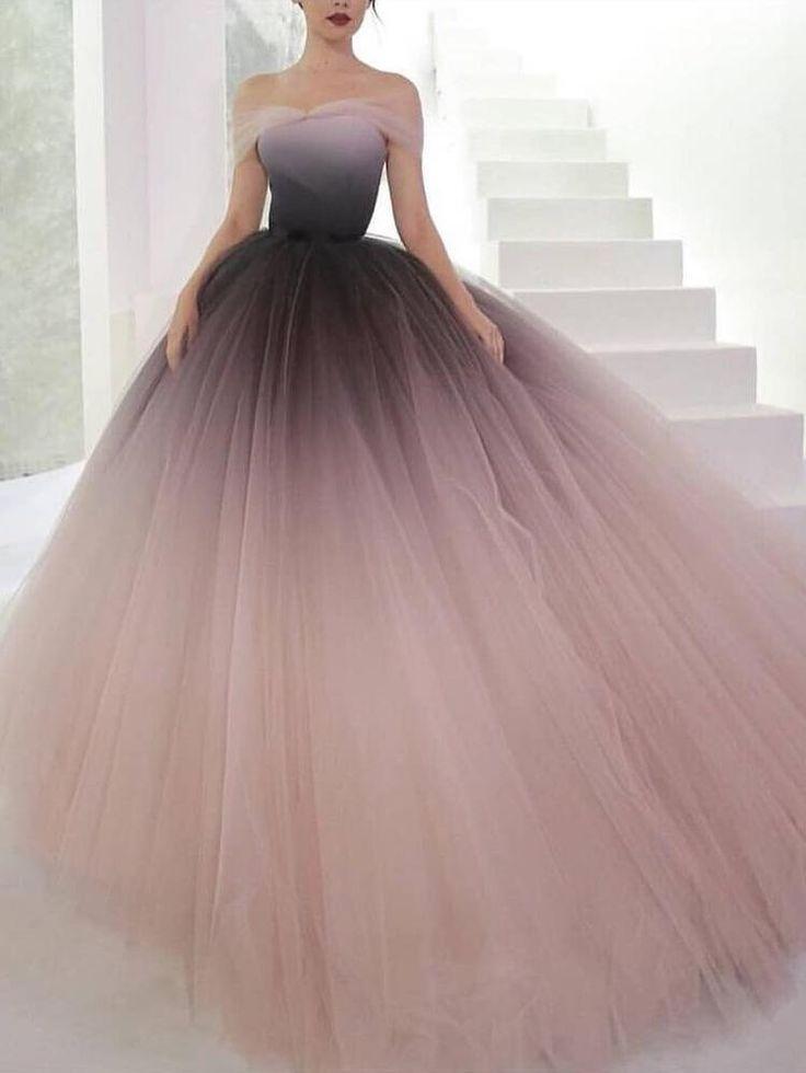 Off-the-shoulder Ombre Prom Dresses Unique Prom Dress Long Evening Dresses AMY1789