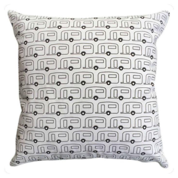 15% OFF Retro Caravan Cushion in Black & White - 42x42cm Hand Screenprinted on Cotton Canvas by SalisburyRoad on Etsy