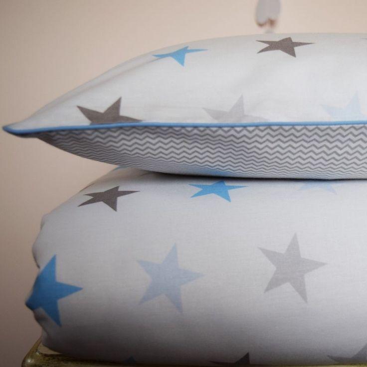 100% COTTON Children Single BEDDING Set Boys  Grey Baby Blue Mini Chevron Stars