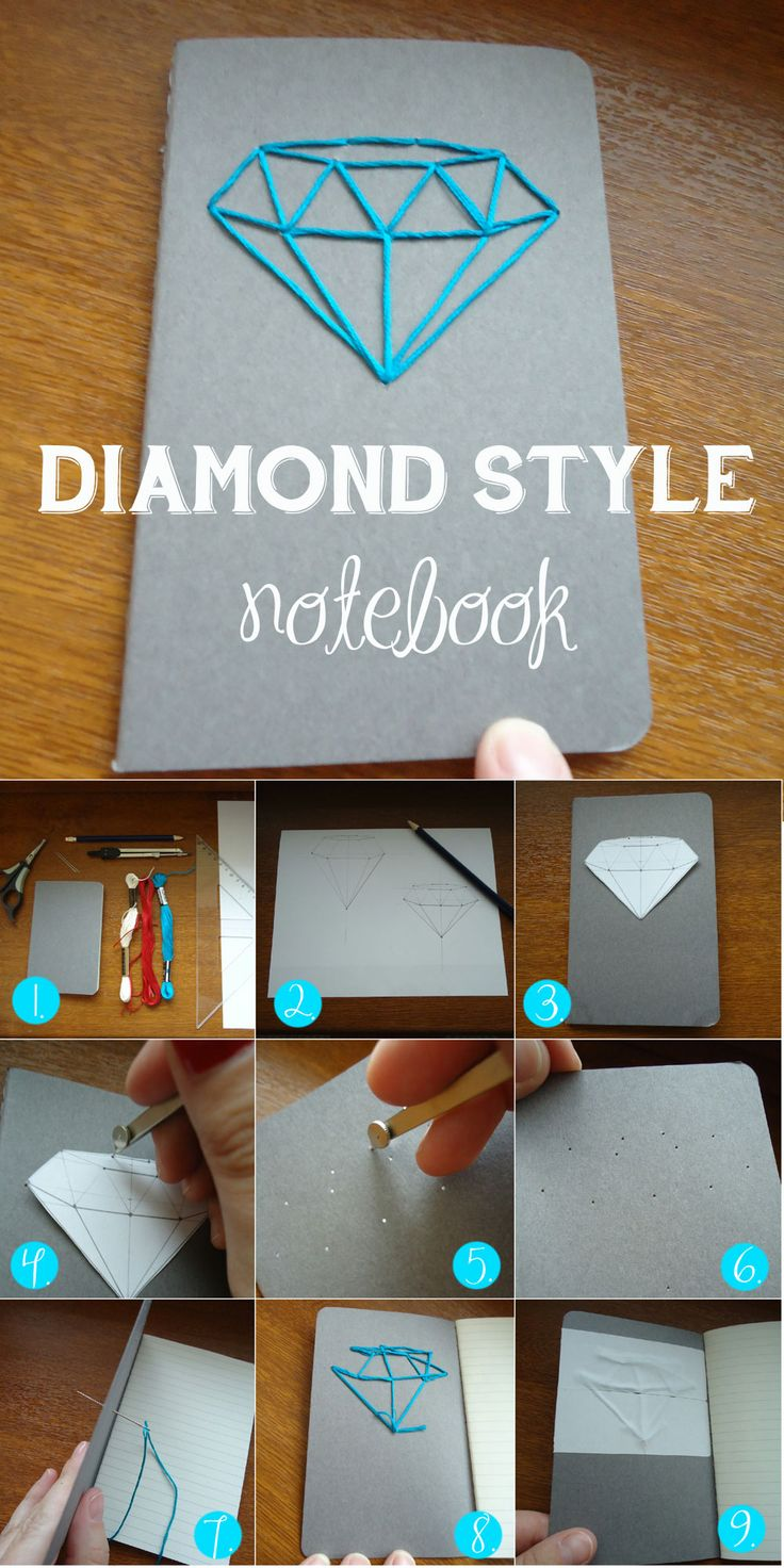DIAMOND STYLE notebook needlework technique Easy diy how to make your notebook special and unique. Also great as a present for friends and family members.  1. you´ll need: notebook with paper cover, needle, cotton yarn, scissors, pencil, paper, ruler, pin or compasses and stamp 2. draw on paper what you want to embroide 3. cut it out and put on your notebook 4. make a dot with pin or compasses 5. make dot bigger 6. now you can see the dots 7. embroide 8. knot the ends 9. put stamp