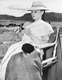 Audrey Kepburn during a break in 'The Unforgiven', 1960 Durango, Mexico --Old Hollywood Starlets knitting ~Anna Karina, Jayne Mansfield, Audrey Hepburn, Gail Russell, Ava Gardner, Rita Hayworth, Peggy Wood, Merle Oberon, Vivien Leigh & Laurence Olivier ,Jane Powell & Frank Sinatra.