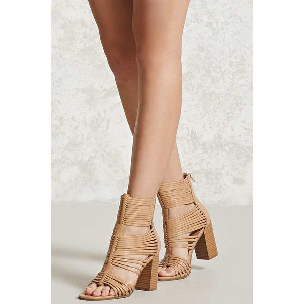 Forever21 Strappy Faux Leather Heels ($35) ❤ liked on Polyvore featuring shoes, sandals, camel, faux leather shoes, strappy high heel shoes, high heeled footwear, forever 21 shoes and cushioned shoes