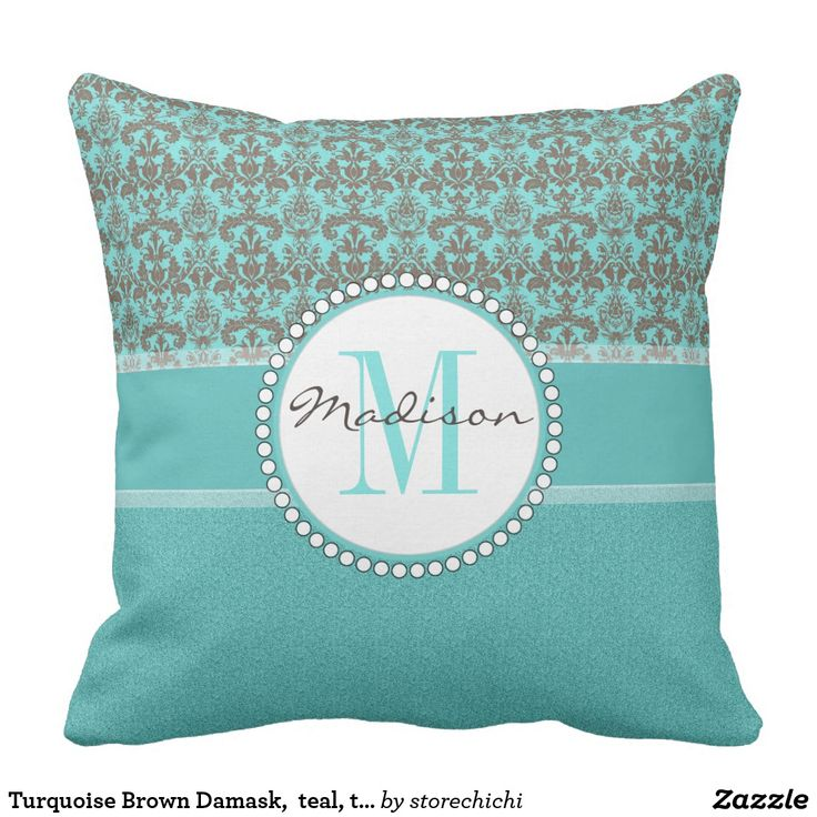 #Turquoise Brown #Damask,  teal, turquoise glitter Throw Pillow #ThrowPillows