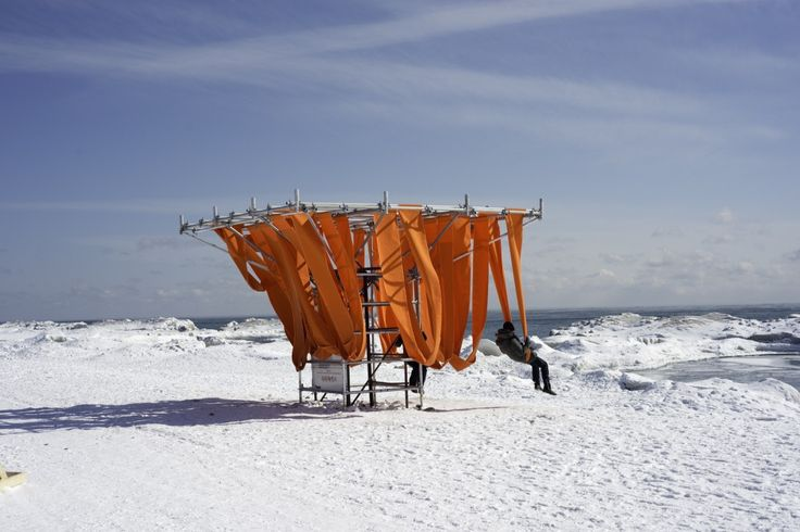 """""""Winter Stations"""" Bring Warmth to Toronto's Frozen Beaches, A design competition for communal space and playscapes designed around lifegaurd chairs in the winter cold"""