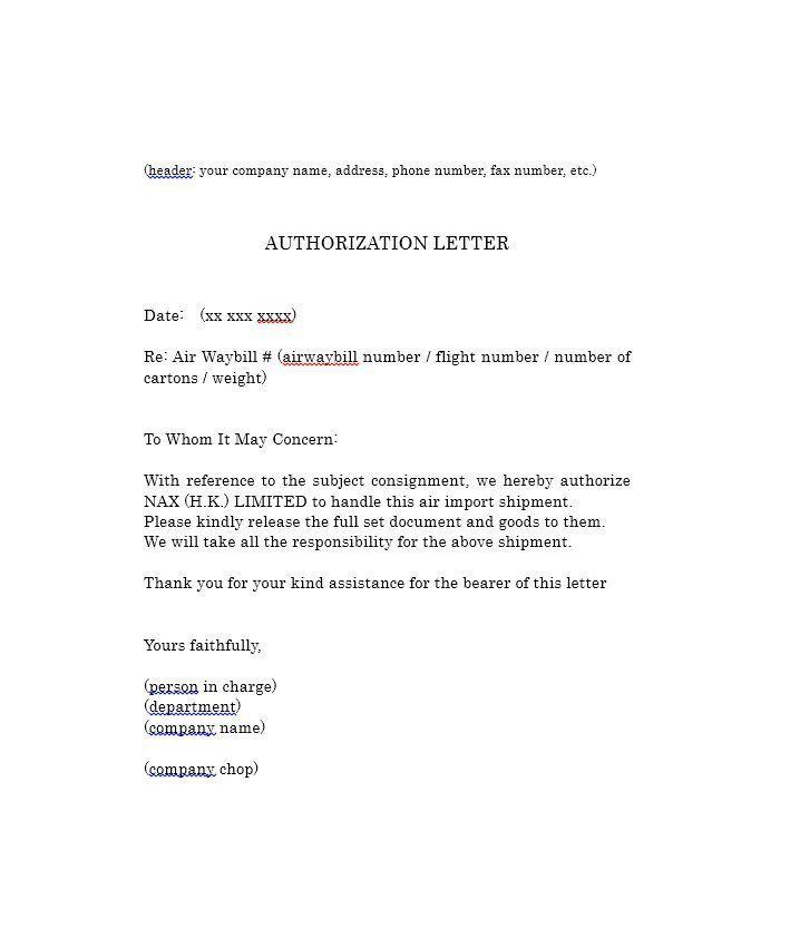 Authorization Letter Samples Letter Sample Lettering Letter