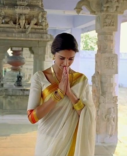 Deepika Paudkone in traditional Tamil costumes as seen in the movie Chennai Express. Designed by Manish Malhotra. Bridelan - a personal shopper & stylist for weddings. Website www.bridelan.com #Bridelan