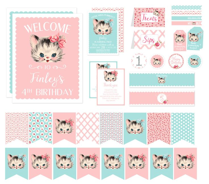 Vintage Kitten Birthday Party Decorations, Kitty Cat Birthday Invitation Printable, Shabby Chic Pink and Aqua Vintage First 1st 2nd Birthday by BlushPartyBoutique on Etsy https://www.etsy.com/listing/465506909/vintage-kitten-birthday-party