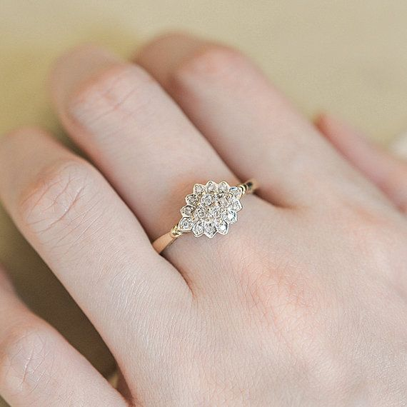 Vintage Gold Diamond Ring Vintage Engagement Ring Art by fineNepic