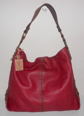 New Lucky Brand Handbag Maple Red Pebbled Leather Large Bucket Hobo Snap Top Nwt