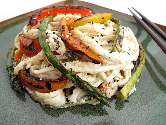 Noodles with Cashew-Sesame Pesto and Grilled Vegetables by Gastronomer's Guide