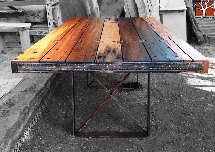 Nativo red wood mesa comedor con cubierta de tablones de - Clavos de cobre ...