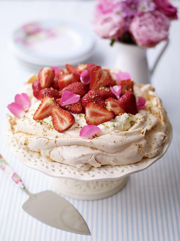 Alex Hollywood's strawberry rose petal and pistachio pavlova