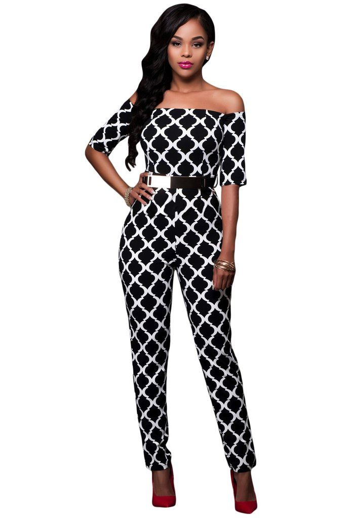 3dce80205b1 Monochrome Off the Shoulder Belted Jumpsuit in 2019