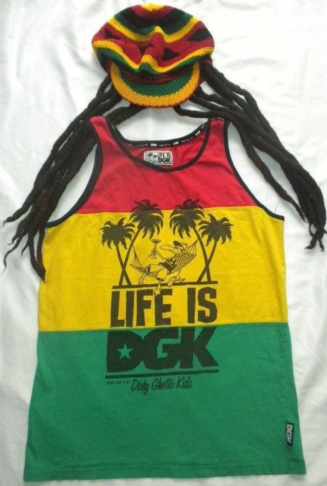 Jamaican Rasta Reggae Halloween Costume Crochet Hat Dreadlocks Tam DGK Shirt #DirtyGhettoKids #CompleteCostume