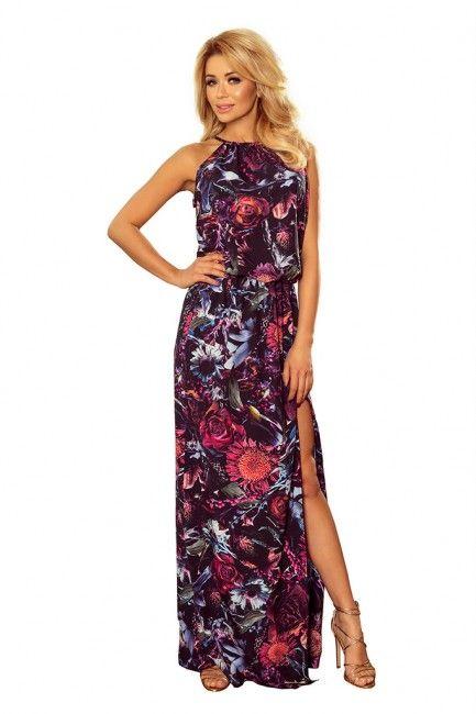 e7c7d204d6 SAF Maxi sukienka na lato z rozcięciem wzór kwiaty SAF191-1 Kolor  róż