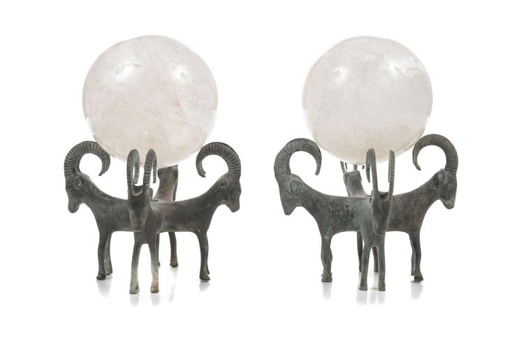 Pair of Antique Rock Crystal Globes Supported by Bronze Rams Stands – 8″H x 5″W – ID# 2159 – $1,700.00 (FL) #antiques #crystalglobes