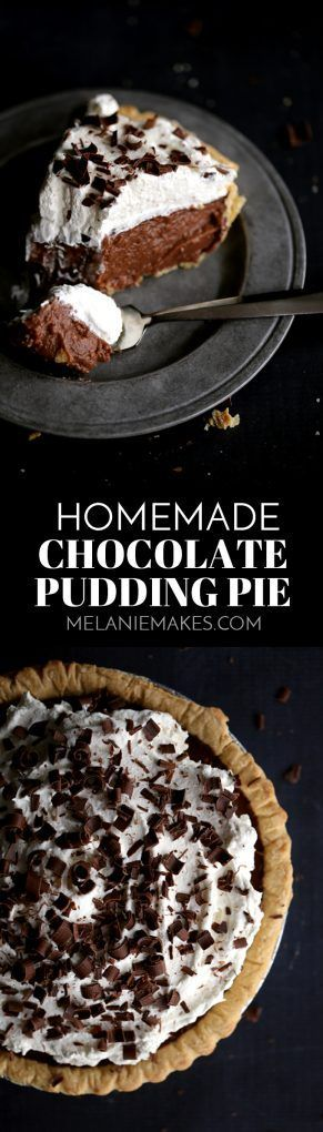 Topped with billowy clouds of whipped cream and showered with chocolate shavings, you won't want to share a single slice of this Homemade Chocolate Pudding Pie. A deep dish crust is filled with the most decadently delicious homemade pudding that makes instant pudding from a box seem like the most ridiculous idea ever.