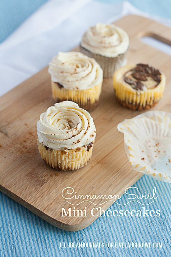 Delicious and Bite Size!  Cinnamon Swirl Mini Cheesecakes via Jelli Bean Journals for www.livelaughrowe.com #dessert