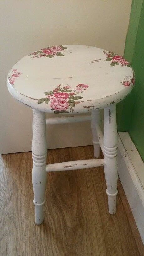 White stepstool with pink floral decals