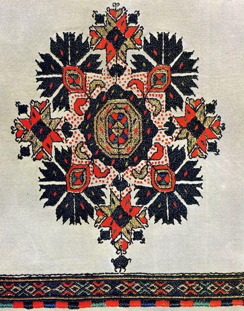 Detail of Embroidery of Macedonian folk costume