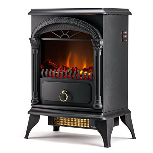 Hamilton Free Standing Electric Fireplace Stove - 22 Inch Black Portable Electric Fireplace with Realistic Fire and Vintage Logs. Adjustable 1500W 400 Square Feet Space Heater Fan