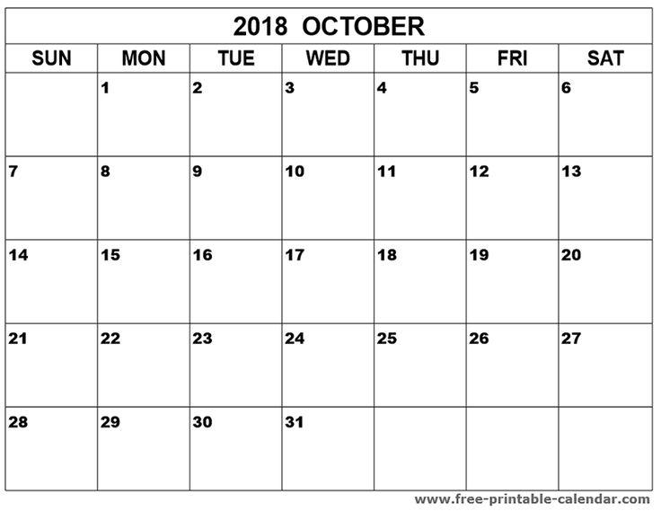 free blank calendar templates 2018