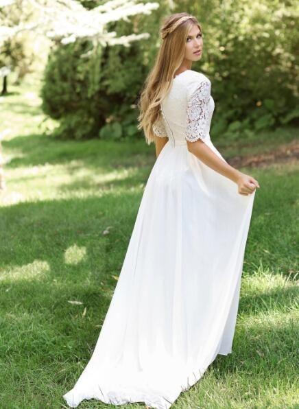 Charming A-Linie Spitze Brautkleider Scoop Neck Halbarm Gericht Zug Braut …   – Wedding night
