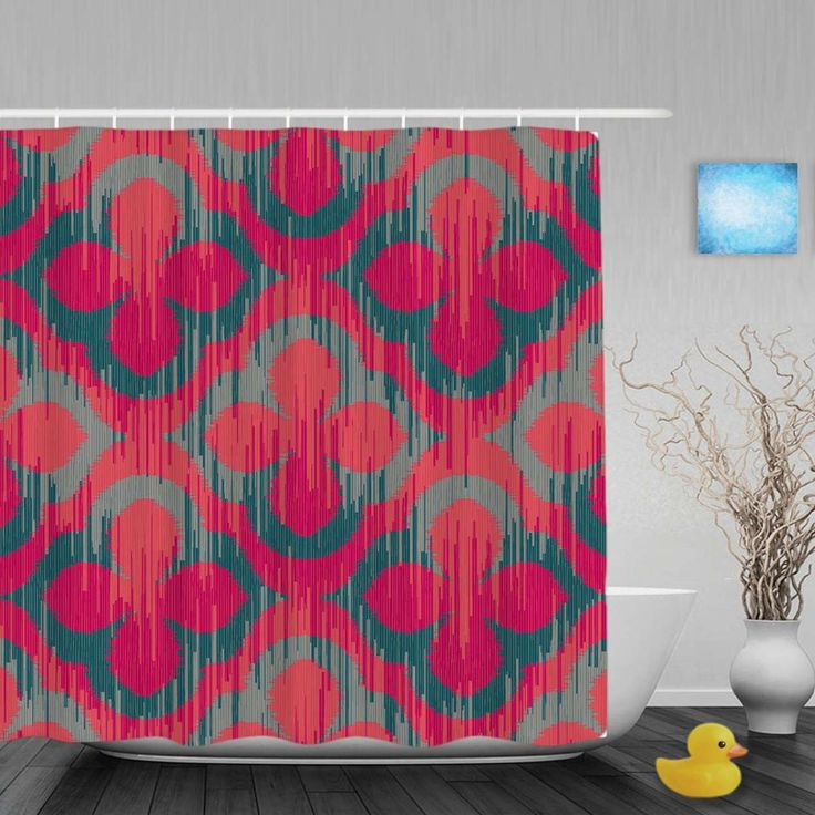 Abstract Flower Pattern Bathroom Shower Curtain Art Printing Decor Waterproof Mildew Polyester Fabric With