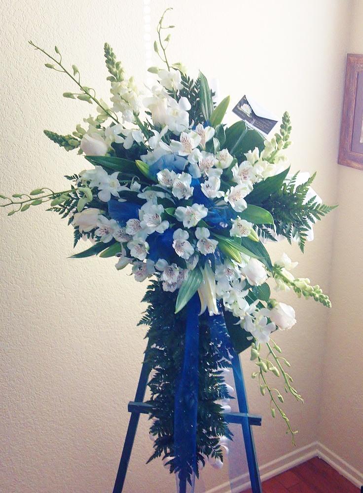 Fantasy Flowers U0026 More ~ Blue U0026 White Sympathy Cross   Sympathy Cross  Composed Of White