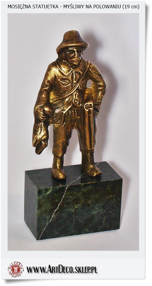 Myśliwy na polowaniu Statuetka mosiężna Handmade Poland