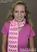 DIY Free Pattern and YouTube Video Tutorial Crochet Breast Cancer Awareness Ribbon Scarf and Other Causes by Donna Wolfe from Naztazia