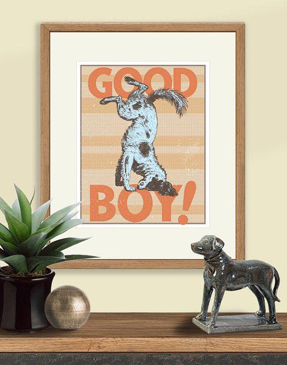 Good Boy Blue Dog Poster Vintage Dog Art by YellowNestDesigns