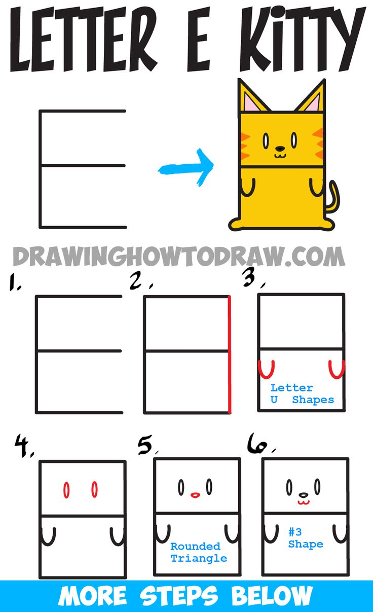 Learn How To Draw A Cartoon Kitty Cat From Uppercase Letter E : Step By Step