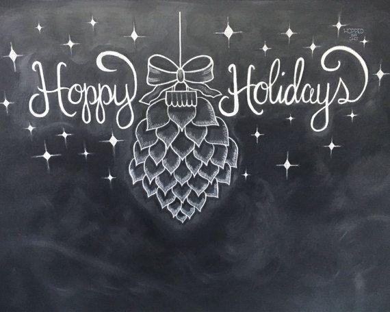 Hoppy Holidays - DIY Chalkboard Printable - Holiday Decor - Chalk Art - Instant Download - 8x10 JPG File - Beer Hops - Craft Beer Lover