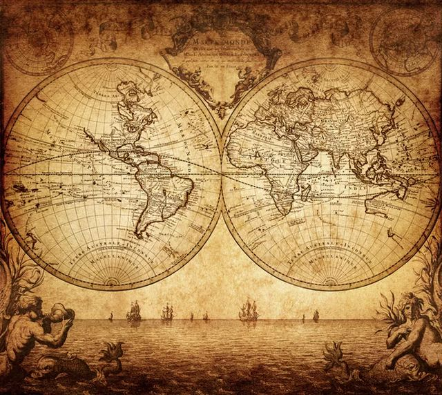 A map of the world from 1733. Different cultures have had different meanings for the 'Seven Seas.'