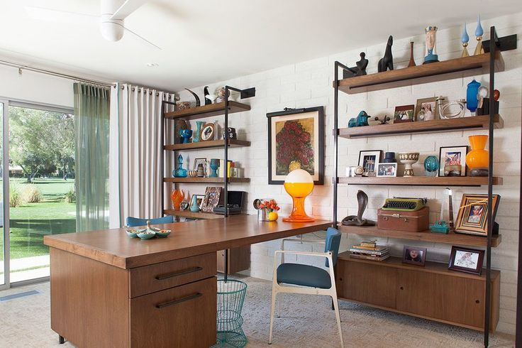 Industrial design shelves home office midcentury with yellow wood shelves michael smith
