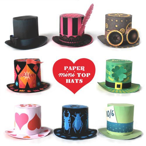Mini top hats made of paper! Printable templates here: https://happythought.co.uk/craft/printables/mini-top-hats/mini-paper-top-hats  #minitophats #templates #prinatbles #nosew