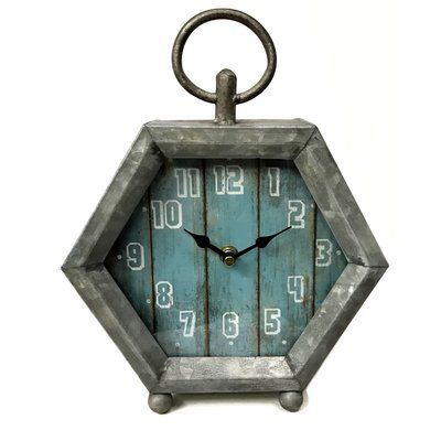 Gracie Oaks Hexoganal Farmhouse Tabletop Clock