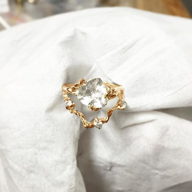 HLSK trillion white sapphire ring
