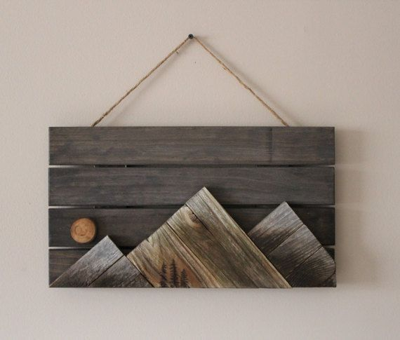 Wooden Mountains Wall Art By Outsideinwoodshop On Etsy Projects In