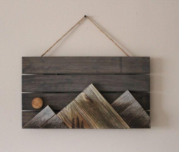 Wooden Mountains Wall Art Reclaimed Wood Wall Art Wood Wall Art